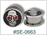 SE0663 Skull with Red Gem Eye Threaded Ear Tunnel