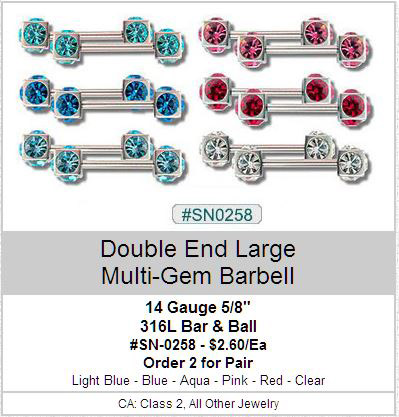 SN0258 Double Big Multi Gem Nipple Bar Pair MAIN