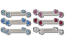 SN0259 Double Small Multi Gem Nipple Bar Pair_THUMBNAIL
