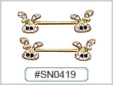 SN0419 Gold Plated Nipple Bar THUMBNAIL