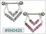 SN0420, Gem Nipple Double Layer Dangle THUMBNAIL