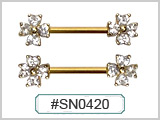 SN0423 Gold Plated Nipple Multi-Gems THUMBNAIL