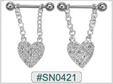 SN0421, SS Clear Gem and Heart Dangle