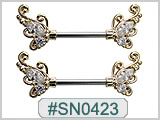SN0423, Gold Plated Gem Butterfly Wings Nipple Barbell