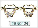 SN0424, Gold Plated Gem Heart Butterfly Nipple Shield THUMBNAIL