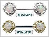 SN0429, SN0430, Opal Design Nipple Barbell THUMBNAIL