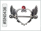 SN0436, Wing Nipple Barbell with Red Gem
