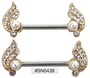 SN0438, Nipple Barbell with Pearls