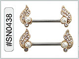 SN0438, Nipple Barbell with Pearls THUMBNAIL