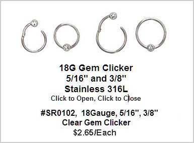 SR0102, 18G, Clicker with Clear Gem MAIN