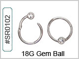 SR0102, 18G, Clicker with Clear Gem