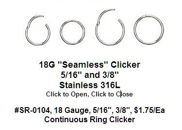 "SR0104, 18G, Clicker ""Seamless"" Ring MAIN"