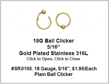 SR0105, 18G, Gold Plated Clicker