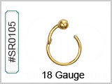 SR0105, 18G, Gold Plated Clicker w/BALL THUMBNAIL