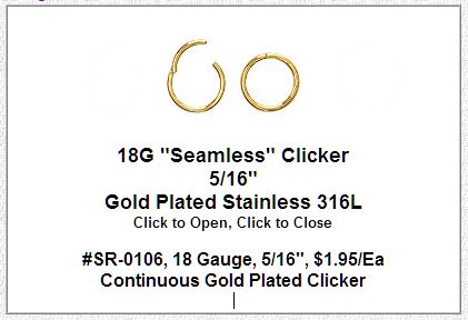 SR0106, 18G, Gold  Plated Seamless Ring