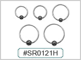 SR0121H, 18G Captive Hematite Bead Ring