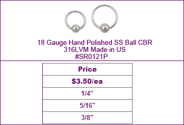 "SR0121P 18 Gauge Hand Polished 1/4"" CBR MAIN"