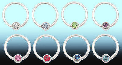 Gem Ball 14 Gauge Captive Ball Rings