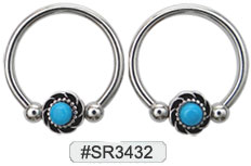 SR3432, Captive Nipple Ring w/Turquoise