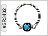SR3432, Captive Nipple Ring w/Turquoise THUMBNAIL