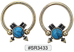 SR3433, Captive Nipple Ring w/Arrows and Turquoise