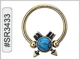 SR3433, Captive Nipple Ring w/Arrows and Turquoise THUMBNAIL