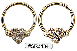 SR3434, Captive Nipple Ring Gem Geart