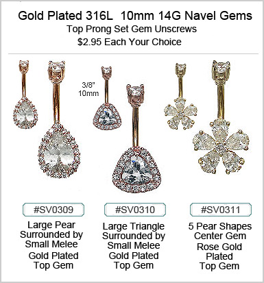 SV0309 14G Navel Gold Plated Gem MAIN