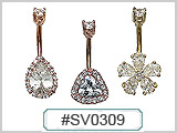 SV0309 14G Navel Gold Plated Gem THUMBNAIL