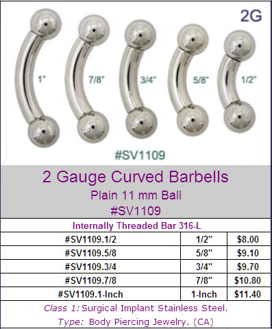 SV1109, 2G Curved Barbells MAIN