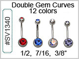 SV1340, 14G Double Gem Navel Curves THUMBNAIL