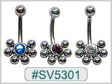 SV5301, Multi-6-Ball S/S Ball Gem Center THUMBNAIL