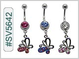 SV5642, Butterfly Gem 14G Navel Dangle Curve THUMBNAIL