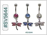 SV5644, Dragonfly Dangle Gem 14G Navel Curve THUMBNAIL