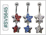 SV5645, Star Dangle Gem 14G Navel Curve