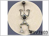 SV7403, Silver Moving Frog with Gems