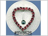 SV8626, Silver Multi-Gem Heart