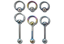 TSB0601 Titanium Coated Gem Hoop Barbell THUMBNAIL