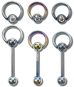TSB0601 Titanium Coated Gem Hoop Barbell