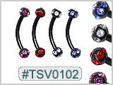 TSV0102, 7 Gem Ball Black Eyebrow Curves THUMBNAIL