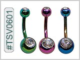 TSV0601, TSV0602, Titanium Color Double Gem Navel THUMBNAIL