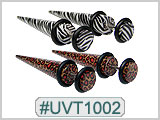 UVT1002 Zebra, Leopard Tapers for 16G Piercing
