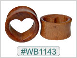 WB1143 Wood Heart Hollow Plugs