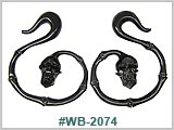 WB2074, Black Wood Spiral Skull and Bones