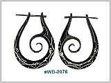 WB2076, Black Wood Earrings with Inlay