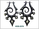 WB2078, Black Wood Earrings with Inlay