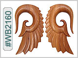 WB2160 Carved Seraphim Wing Wood Ear Style THUMBNAIL