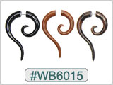 WB6015 Wood Ear Spiral Extended Gauges for 14G Hole Earrings