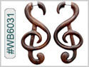 #WB6031 -  Narra Wood Music Note Fake Earring