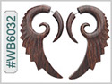 #WB6032 -  Wooden Tribal Earring - Wings THUMBNAIL